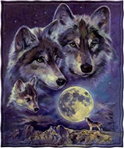 Dawhud Direct Fleece Throw Blanket (Wolf Moon Call)