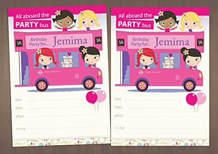 20 Girl S Personalised Birthday Party Invitations Children S Pink