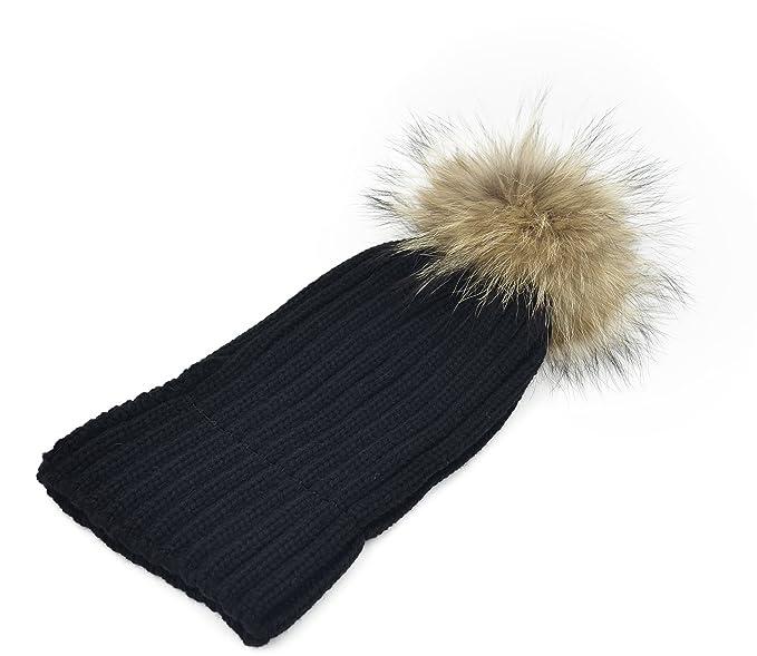 Melesh Women s Winter Large Detachable Fur Pom Pom Knit Beanie Hat (Black)  at Amazon Women s Clothing store  6265b1d39d52