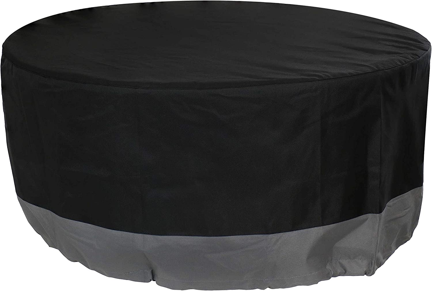 Sunnydaze Round 2-Tone Outdoor Fire Pit Cover - Gray/Black - Heavy Duty 300D Polyester Exterior Circular Winter Cover for Fire Pit - Waterproof and UV-Resistant - 40-Inch x 18-Inch