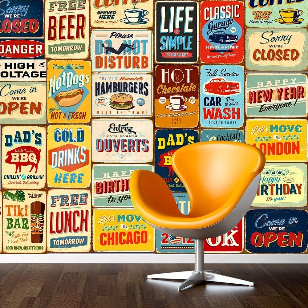 WALPLUS 152 x 161 cm Adesivi da Parete Vintage Metal Sign-Collage, Confezione da 1, Autoadesivi, Rimovibili, Arte murale, Decorazione Vinile Home Décor-Carta da Parati per Camera da Letto, Soggiorno 60-UXWC-QMFQ