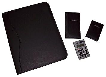 Idena 22905004 - Juego de portadocumentos (A4, con cremallera, incluye agenda, cuaderno y calculadora)