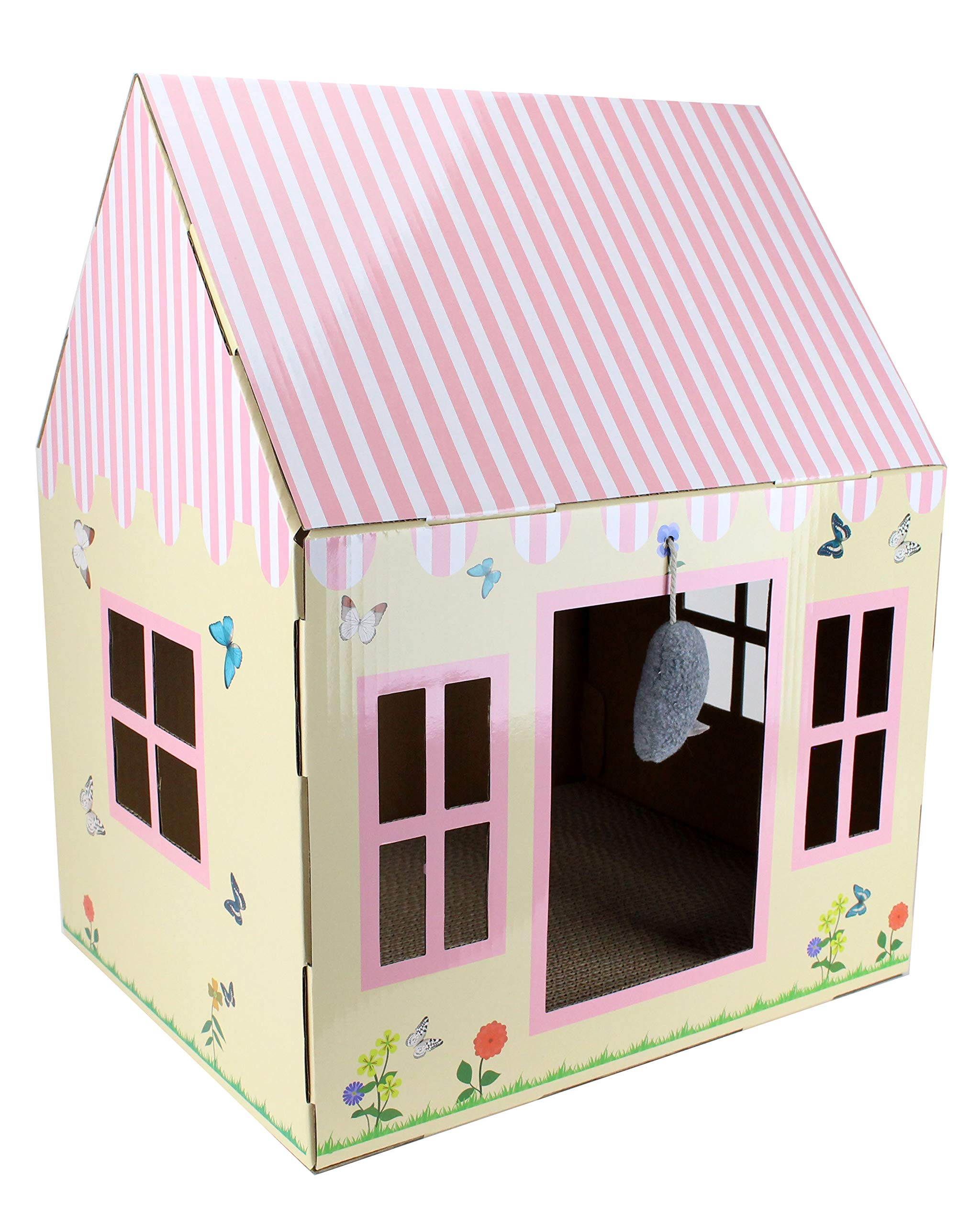 Cottage Cat Scratcher House - Cardboard Box with Scratch Pad, Hanging Toy and Catnip - Best Kitty Indoor Scratching Corner with 4 Window Holes - Cozy and Stimulating Designs - 20 x 16 x 13 Inch by Midlee
