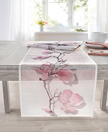 Moderne Tischwäsche tischläufer magnolie transparent rosa weiß tischdecke blumen