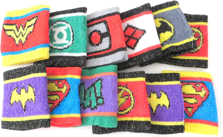 "12 One Dozen Children DC Comic Logo Wristbands 2.75/"""
