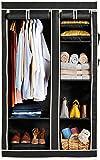 Amazon Brand - Solimo 2-Door Foldable Wardrobe, 6 Racks, Black