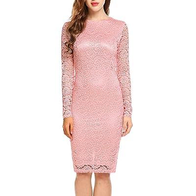 ACEVOG Women Elegant Floral Lace Long Sleeve Bodycon Cocktail Pencil Dress