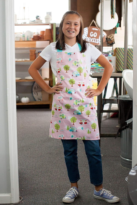 Aqua Pink Happy Camper Art Craft or Kitchen Apron Gift for Girl