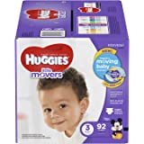 HUGGIES LITTLE MOVERS Diapers, Size 3 (16-28 lb.), 92 Ct., GIGA JR PACK(Packaging May Vary), Baby Diapers for Active Babies
