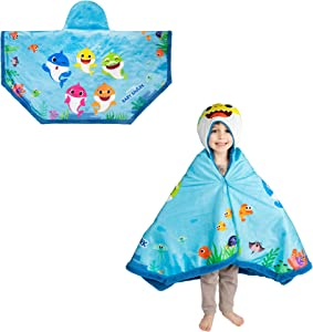 "Franco Kids Bedding Super Soft and Cozy Snuggle Wrap Hoodie Blanket, 55"" x 31"", Baby Shark"