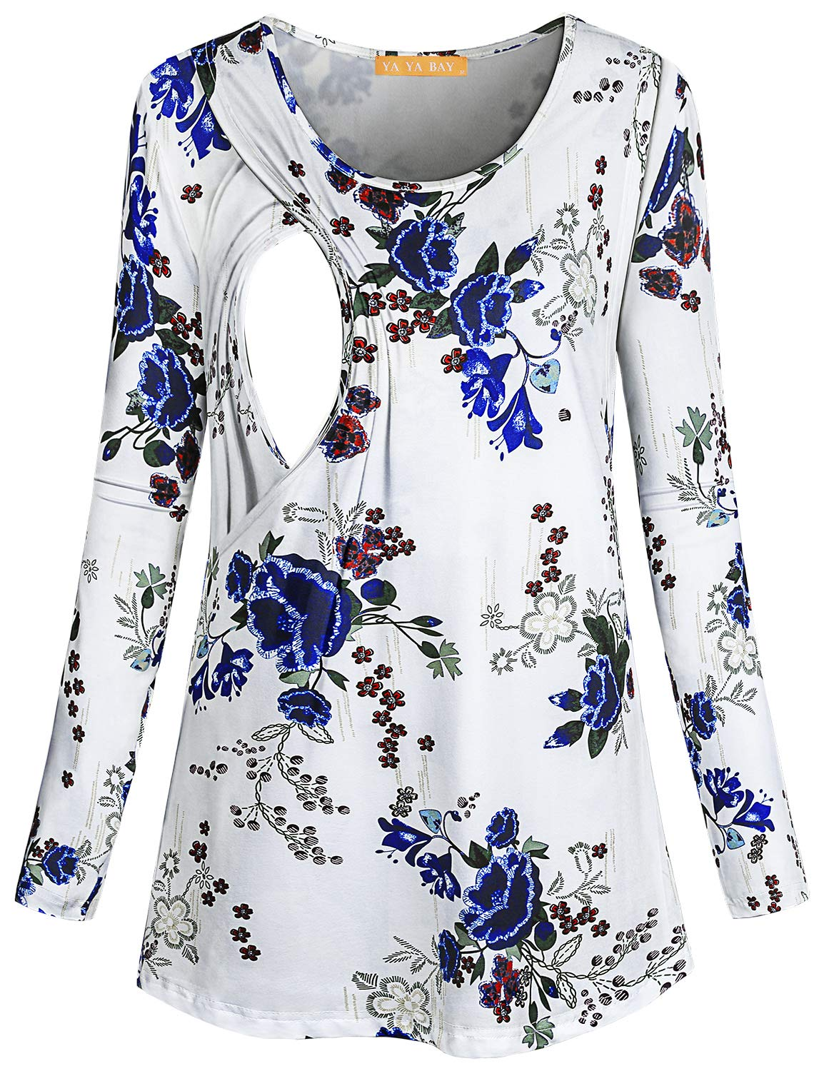 YaYa Bay Pregnancy Shirt, Laides Crew Neck Long Sleeve Side Slits Casual Loose Fitted Flowy Nursing Tunic Tops for Breastfeeding Knitting Fall Maternity Sleepwear White Floral L