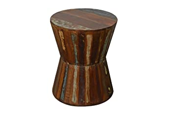 Attractive Reclaimed Wood Hourglass Side Table Stool
