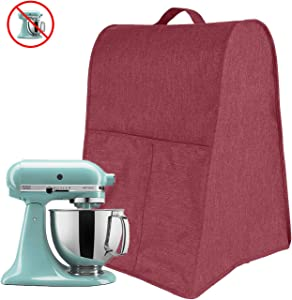 Stand Mixer Cover Large Size Dust-proof Satin Sheen Fabric Fits All Tilt Head & Bowl Lift Models for KitchenAid, Sunbeam, Cuisinart, Hamilton Beach Mixers,Blender Dust Cover,Desktop mixer dust cover,Stand Mixer Cover,Coffee Maker Cover and Toaster Machine Cover for 4.5/5/6/7 Quart KitchenAid Mixer ( Wine Red)