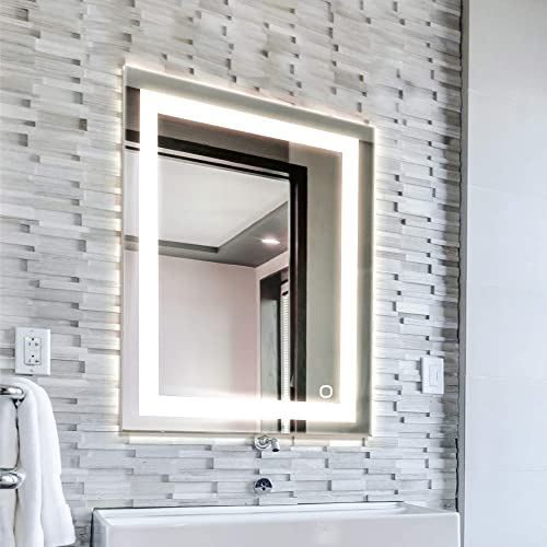 TOSCA 100087 White 24×30 Inch LED Bathroom Mirror, Anti-Fog Wall Horizontal or Vertical Mount, Color Changing Soft Daylight