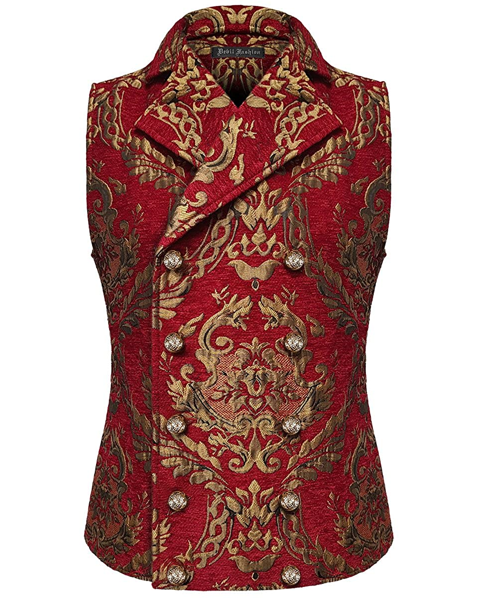 Devil Fashion Mens Vest Waistcoat Red Gold Damask Gothic Steampunk Aristocrat