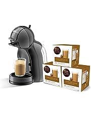 Krups Mini Me KP1208 - Cafetera Nestlé Dolce Gusto automática de 15 bares de presión y motor de 1500 W de potencia con depósito de 0,8 L, color negra y gris con 48 cápsulas de Café con Leche