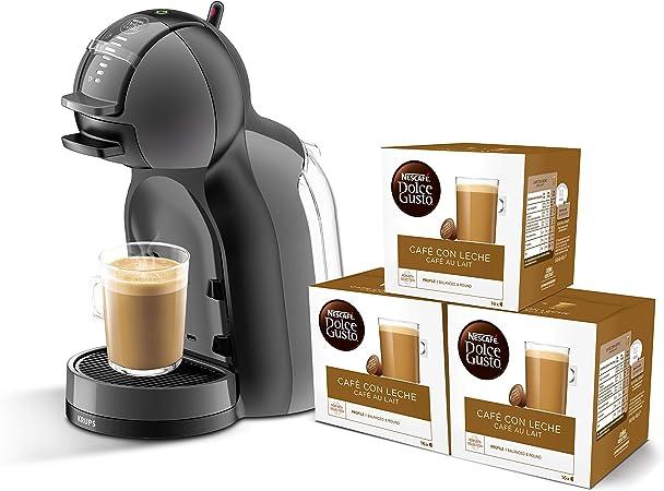 Pack Krups Dolce Gusto Mini Me KP1208 - Cafetera de cápsulas, 15 bares de presión, color negro y gris + 3 packs de café Dolce Gusto Con Leche: Amazon.es: Hogar