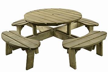 Table ronde de pique-nique Aberdeen très résistante, 8 places, avec ...
