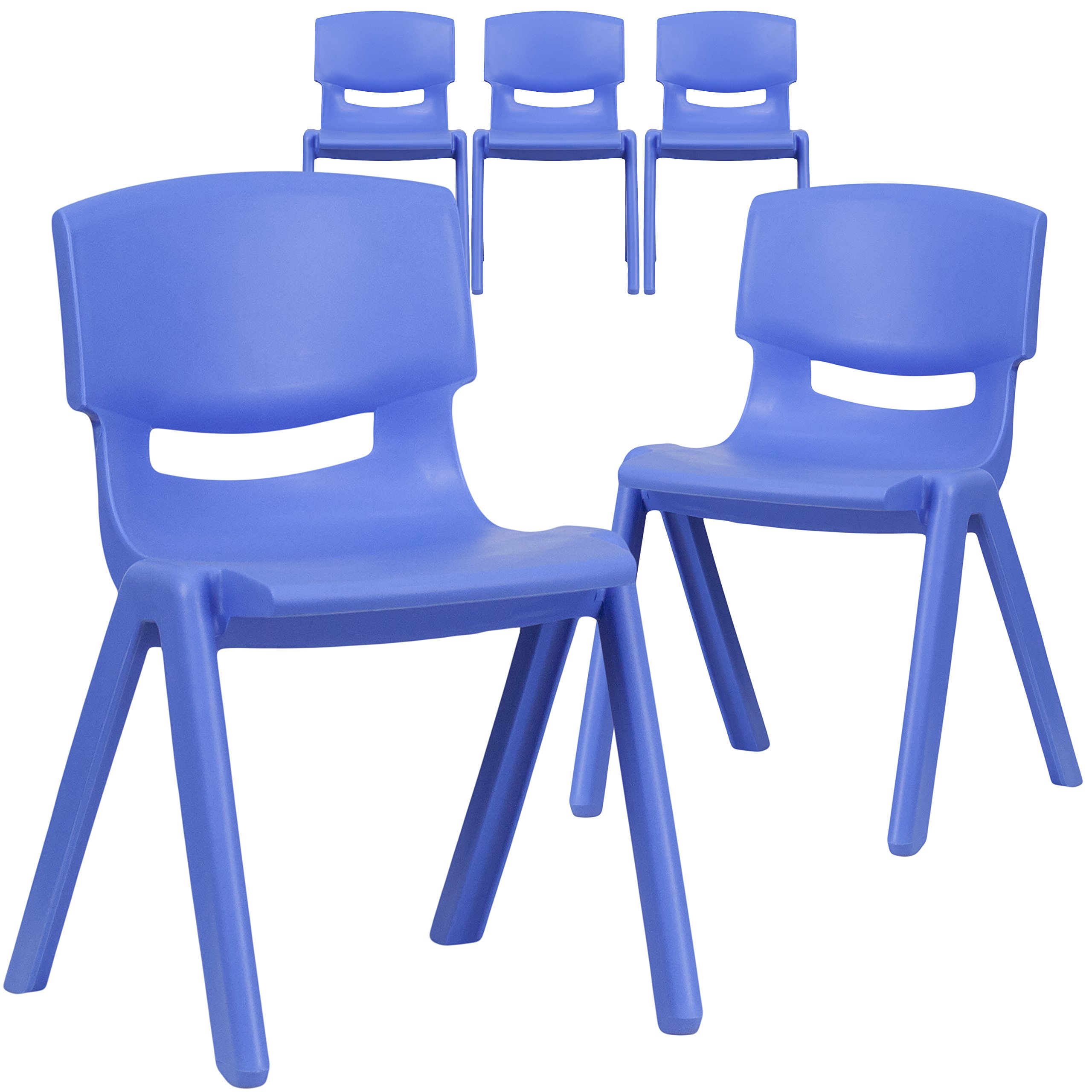 Flash Furniture 5 Pk. Blue Plastic Stackable School Chair with 13.25'' Seat Height