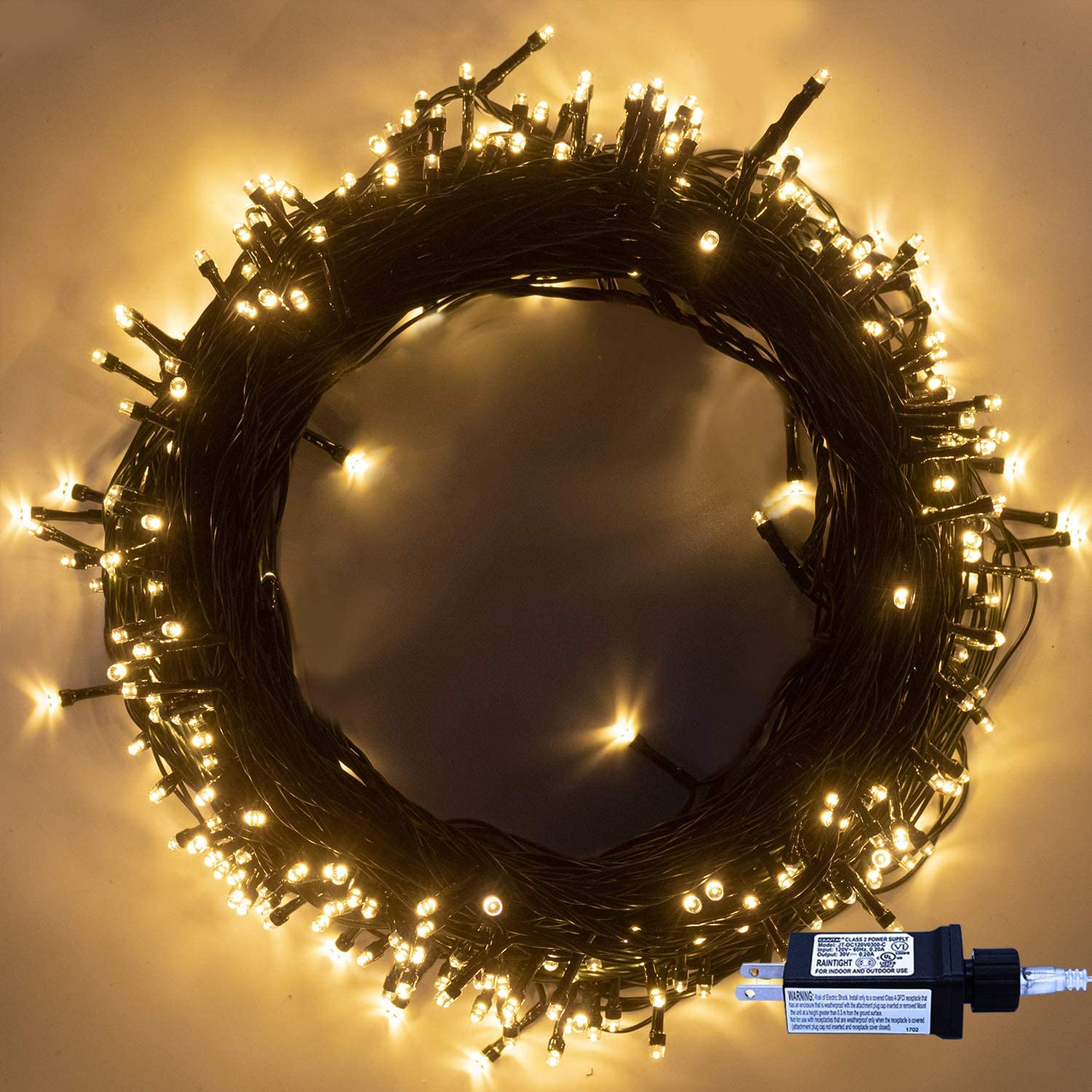 Outdoor Christmas Tree String Lights, 320 LED 35m/115ft Indoor Waterproof 8 Modes Fairy Twinkle Lights End-to-End Plug in, for Christmas Tree Garden Wedding Party Home Patio Lawn Decoration-Warm White