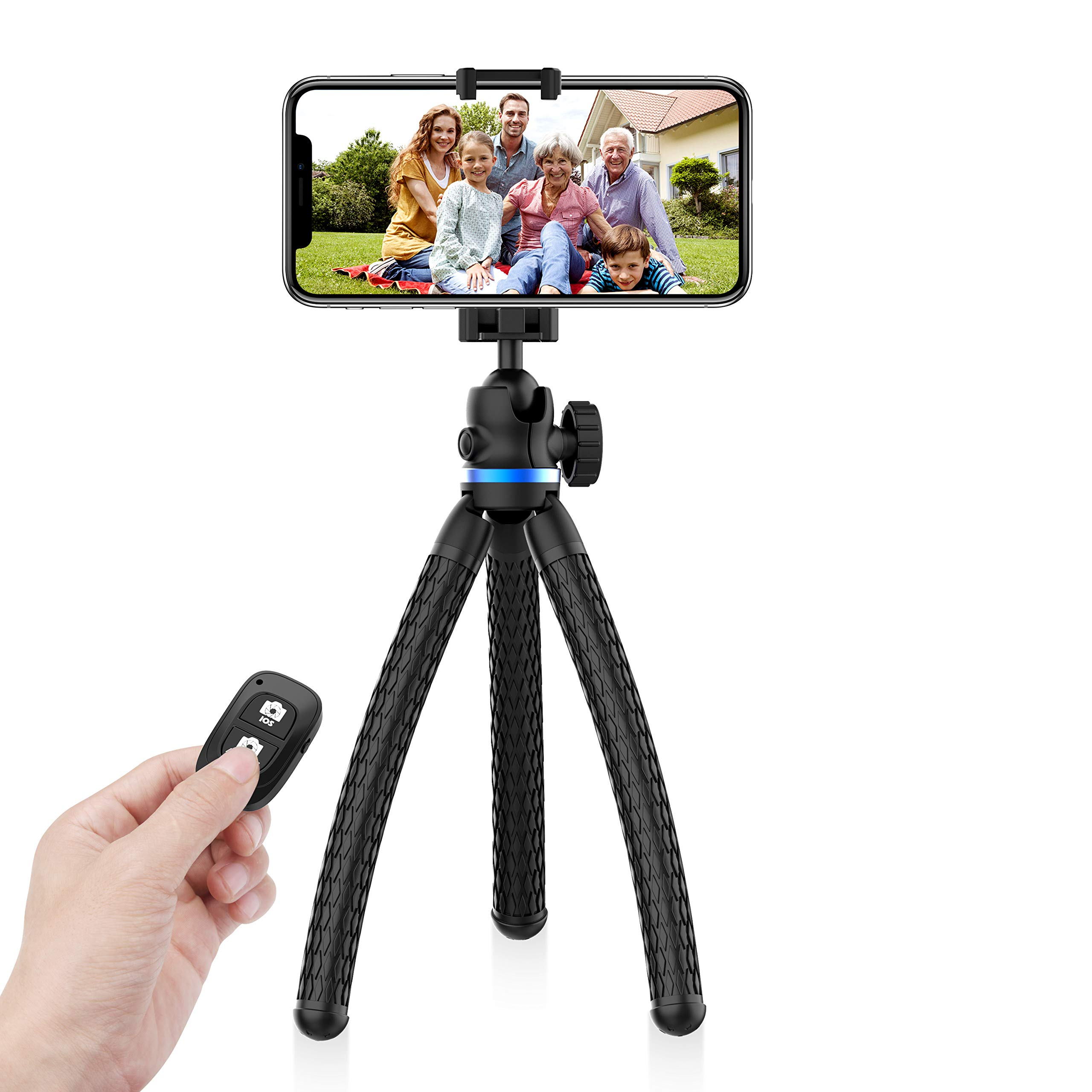 UBeesize Phone Tripod, 12 Inch Flexible Cell Phone Tripod Stand Holder with Wireless Remote Shutter & Universal Phone Mount, Compatible with iPhone/Android/DSLR/GoPro Camera by UBeesize