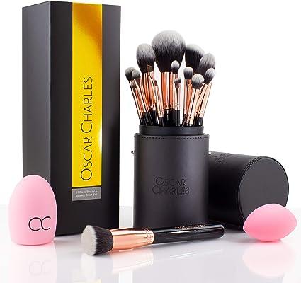 Oscar Charles Juego de brochas de maquillaje profesional con mezclador de belleza y limpiador en elegante estuche de brochas, presentado en una hermosa caja de regalo [15 piezas] [Oro rosa]: Amazon.es: Belleza