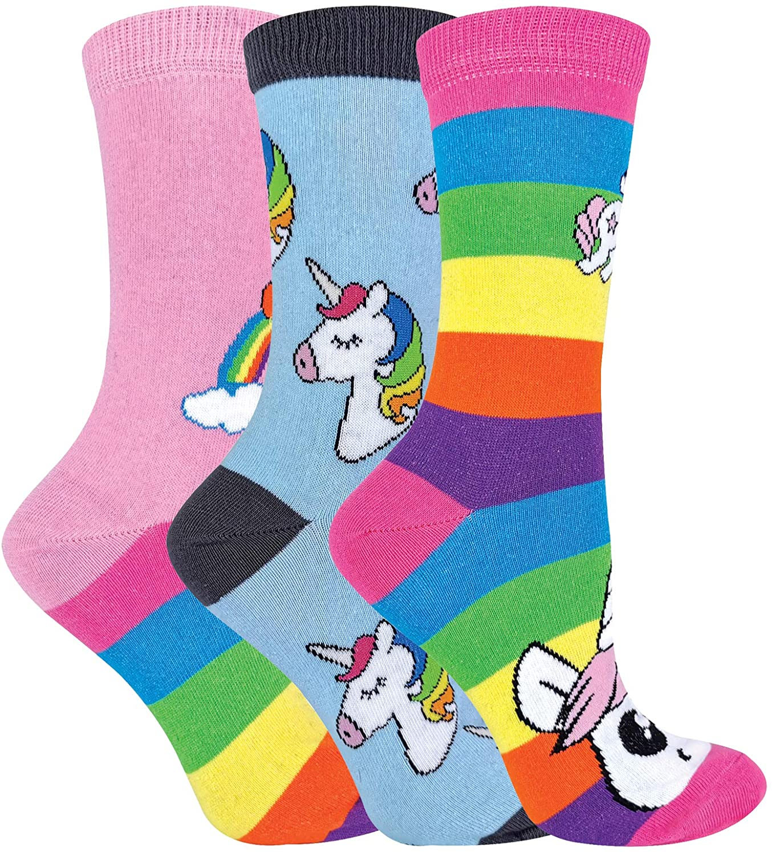 Calcetines de unicornio de rayas arcoíris para mujer | novedosos calcetines de algodón ricos | Pack de 3