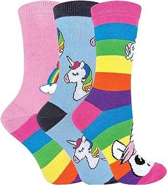 Calcetines de unicornio de rayas arcoíris para mujer | Calcetines de algodón ricos para mujer | Pack de 3 (4-7, unicornio arcoíris): Amazon.es: Ropa y accesorios