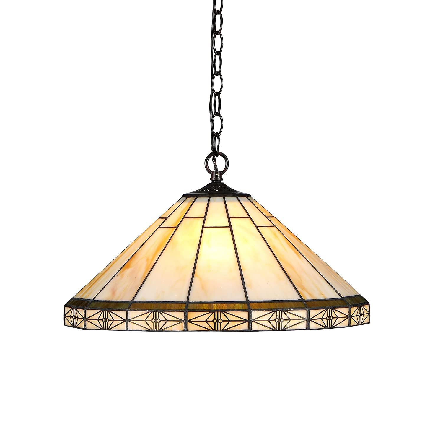 "Chloe Lighting CH31315MI18-DH2 Belle Tiffany-Style Mission 2-Light Ceiling Pendant with Shade, 8.7 x 18.1 x 18.1"", Bronze"