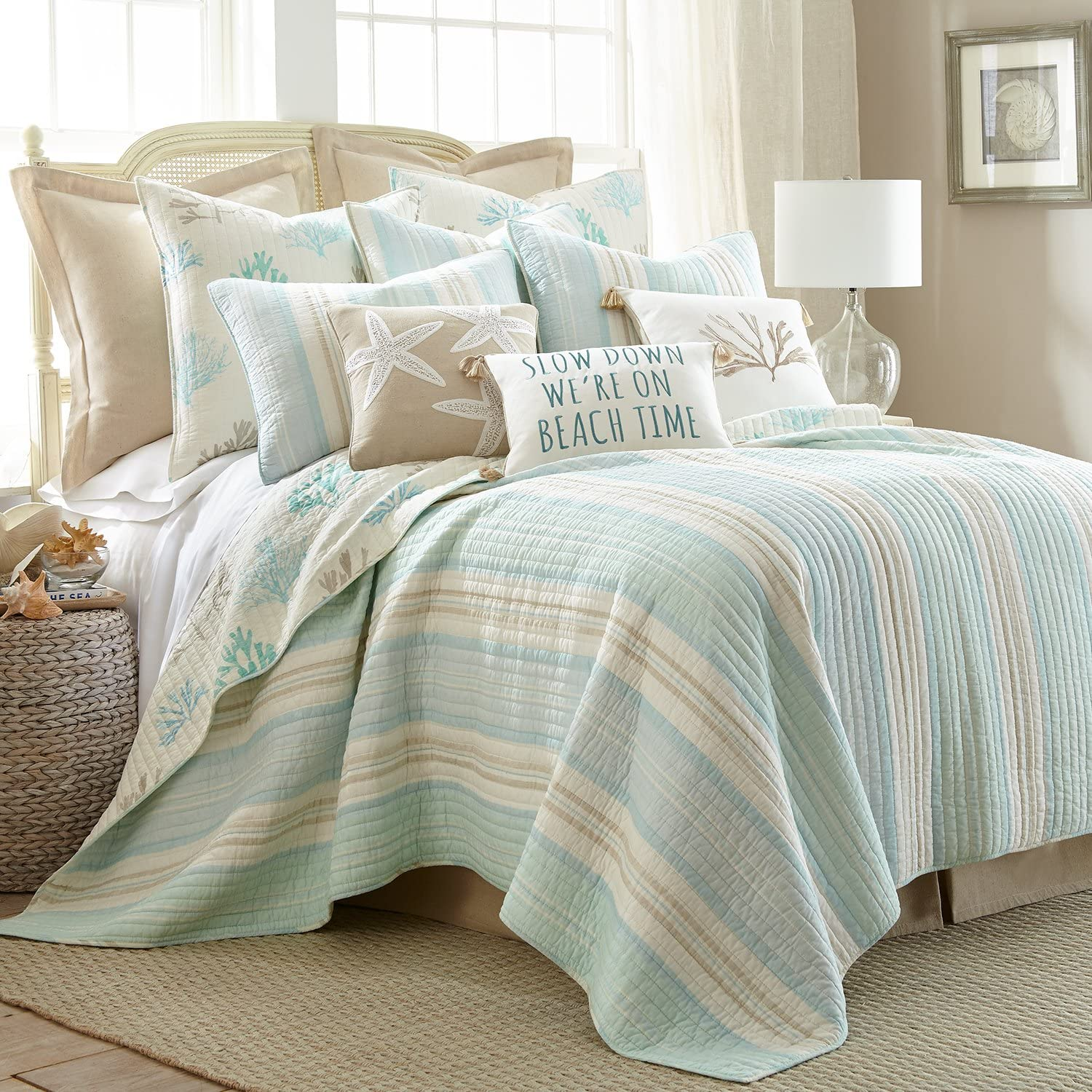 Levtex Stone Harbor King Set, White with Teal & Taupe, Cotton