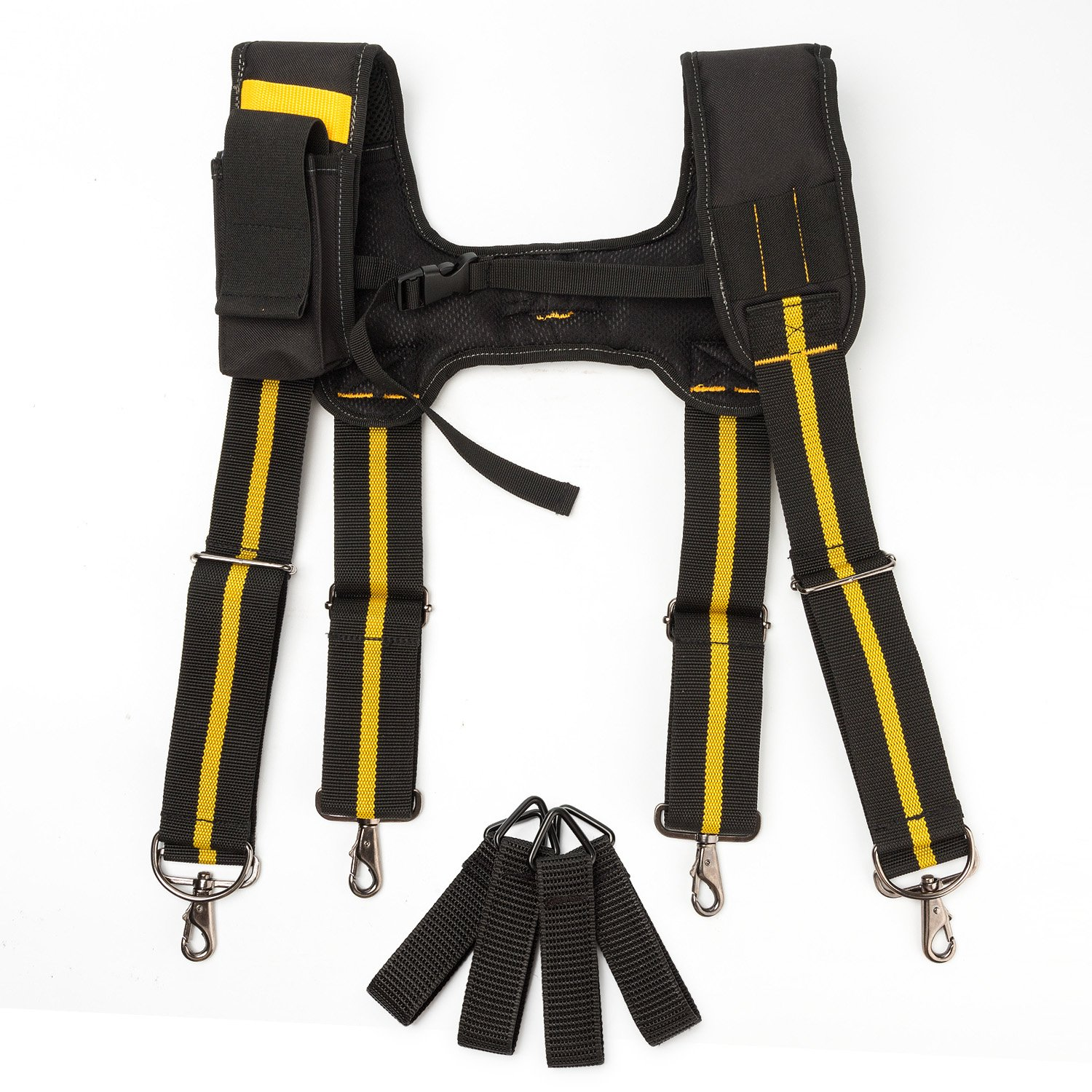 Tool Belt Suspenders|Padded Suspenders with movable phone holder Tape Holder Pencil holder,Flexible Adjustable Straps, suspenders Loop Attachments for carpenter electrician work Suspension Rig by Melo Tough (Image #1)