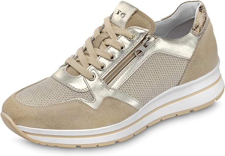 Nero Giardini Sneaker in Pelle Donna Avorio 39: Nero