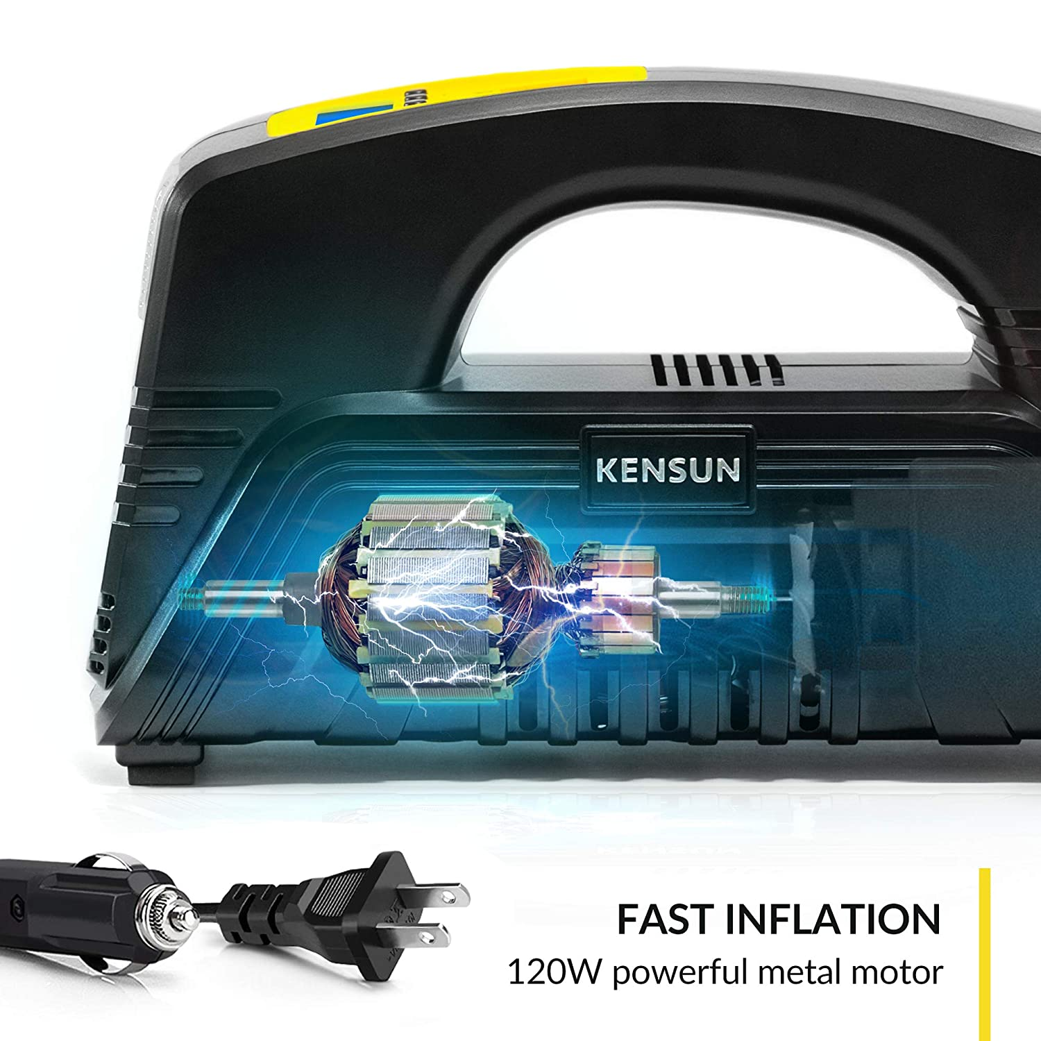 Kensun AC DC Digital Tire Inflator for Car 12V DC and Home 110V AC Rapid Performance Portable Air Compressor Pump for Car, Bicycle, Motorcycle, Basketball and Others