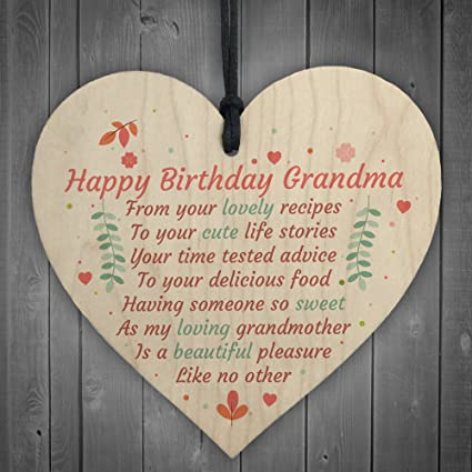 XLD Store Happy Birthday Grandma Wooden Heart Gran Nan Special Card Grandson Granddaughter Love Gift