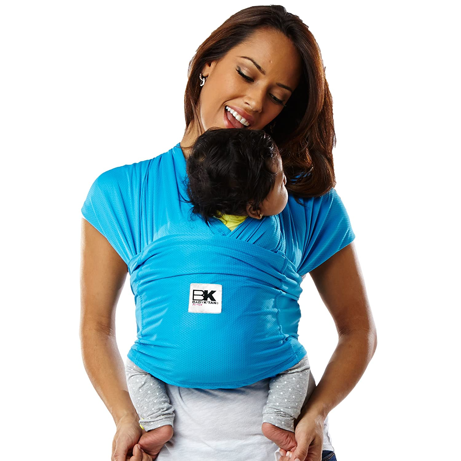 Baby K tan Active Baby Wrap Carrier, Infant and Child Sling – Simple Wrap Holder for Babywearing – No Rings or Buckles – Carry Newborn up to 35 Pound, Ocean Blue, Small Women 6-8 Men 37-38