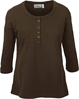 product image for Akwa Made in USA Women's Slub Terry 3/4 Sleeve Henley