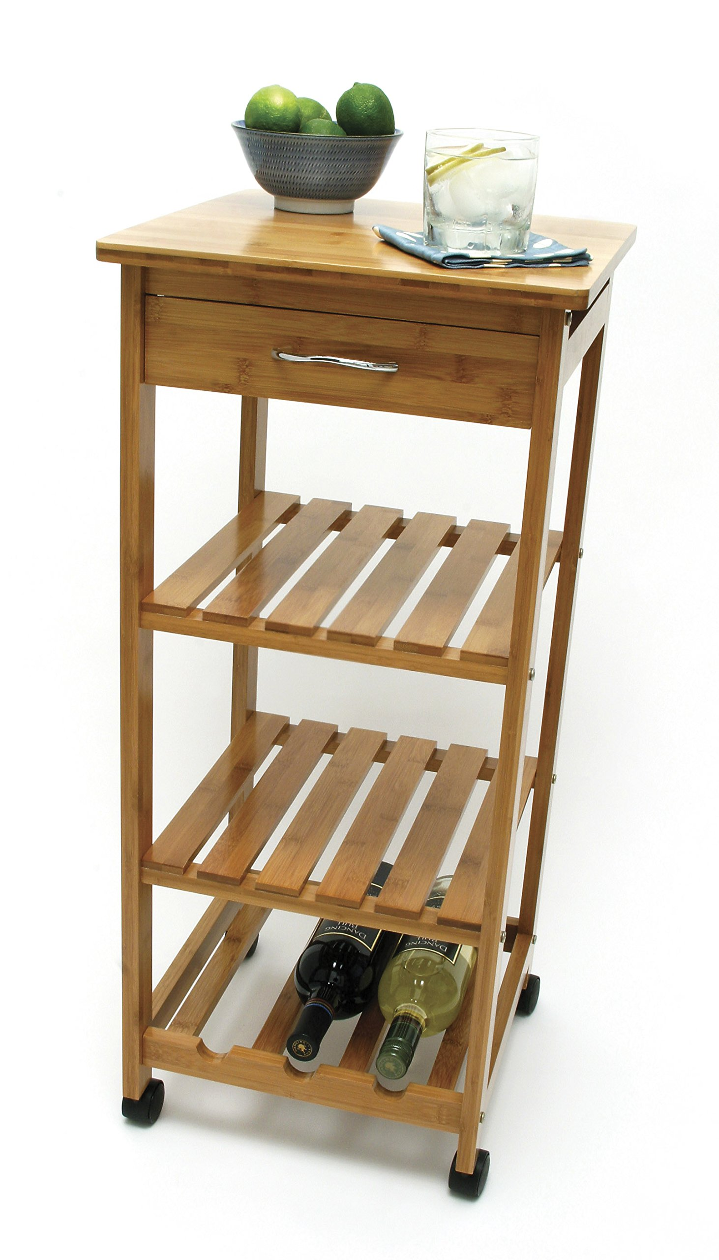 Lipper International 8914 Bamboo Wood Space-Saving Cart with 1 Drawer, 14.5'' x 14.5'' x 33.5'' by Lipper International (Image #2)