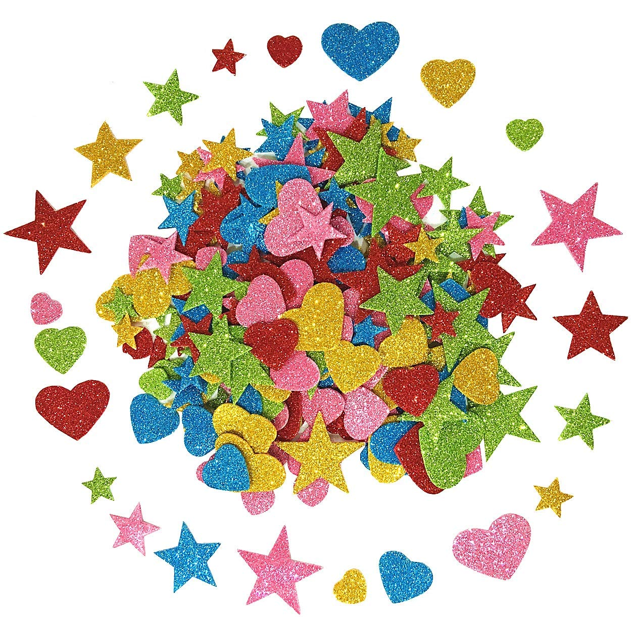 1.9 Ounce 150 pieces Foam Glitter Stickers, Star and Mini Heart Shapes Deryunny