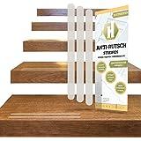 18 Anti-Rutsch-Streifen für Treppen + Anbringhilfe/Transparent, langlebig, selbstklebend als Ersatz Stufenmatte und Treppenteppich, 254x19mm/Haftsteig