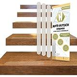 18 Anti-Rutsch-Streifen für Treppen + Anbringhilfe / Transparent, langlebig, selbstklebend als Ersatz Stufenmatte und Treppenteppich, 254x19mm / Haftsteig