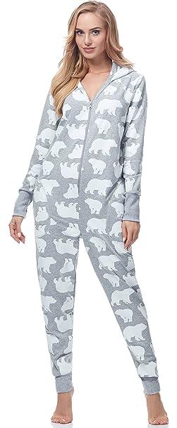 Italian Fashion IF Pijama Entero 1 Pieza Ropa de Cama Mujer IF180017 (Gris Melange,