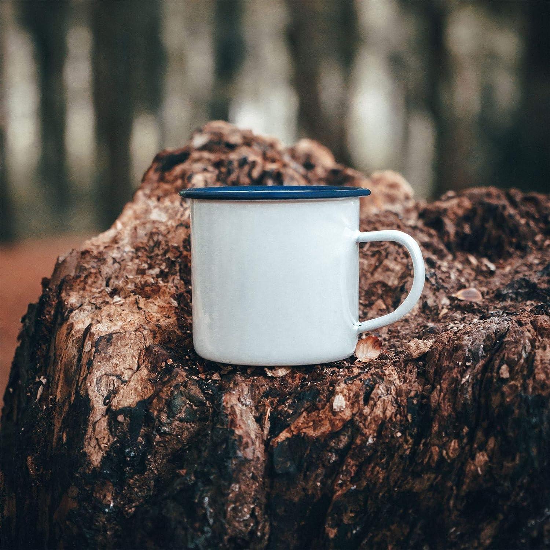 4er-Pack Argon Geschirr Premium-wei/ßer Emaille-Tee//Kaffeetasse 380ml Blau-Ordnung
