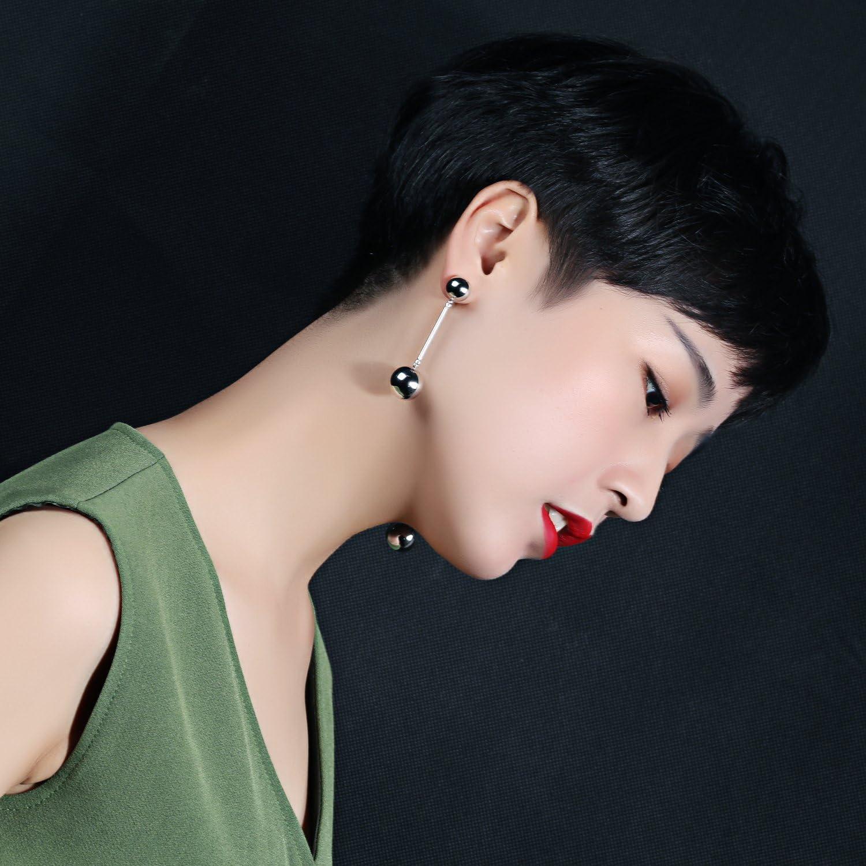 Women Long Drop Earrings Double Ball Stud Earring Jewelry Birthday Gift For Girl