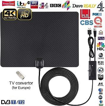 Antena de TV, Antena Interior HDTV con Portatil Amplificador, 60-80 Millas Gama de Recepción, Antena