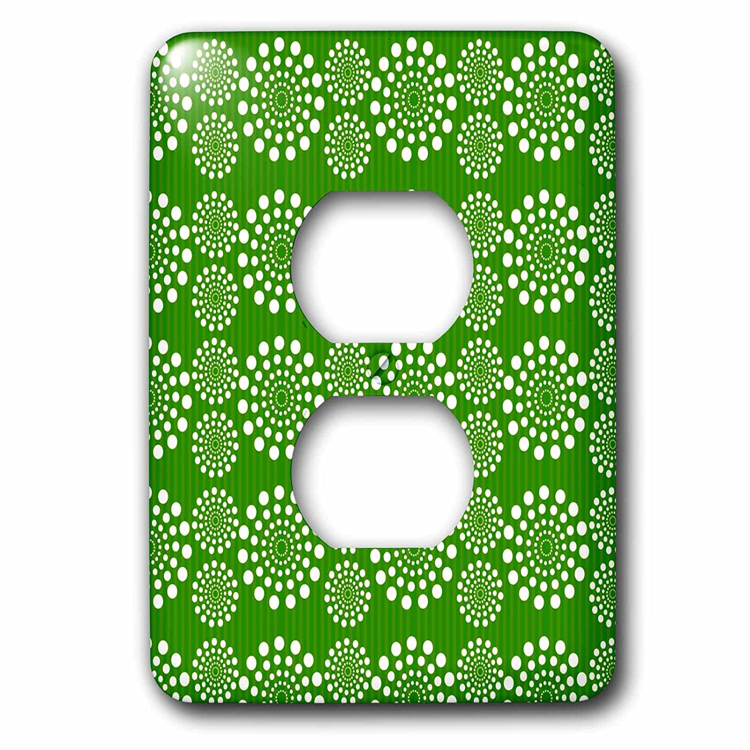 3dRose lsp/_169373/_6 Retro Green and White Dot Circles Pattern Light Switch Cover