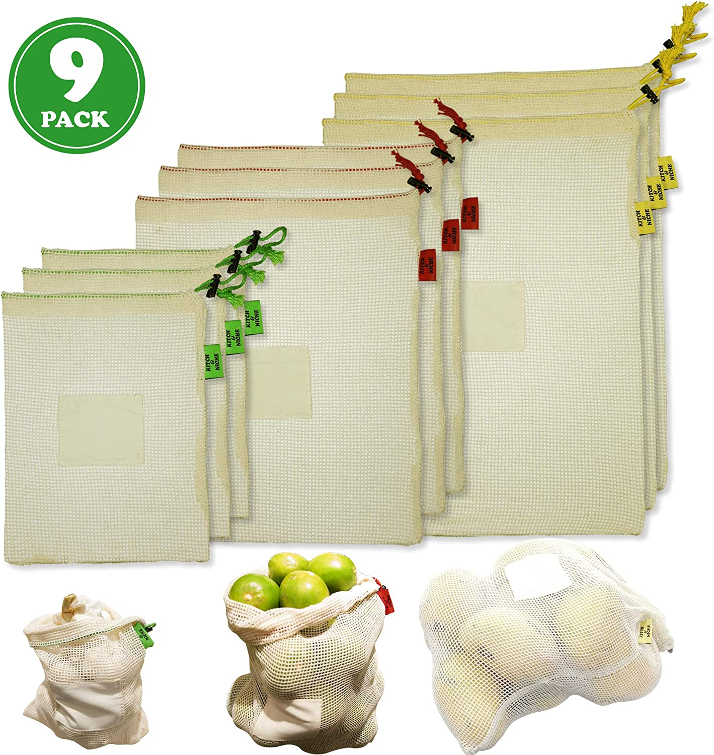 Reusable Produce Bags Set Of 9 - Washable Cotton Mesh Produce Bags with Tare Weight on Tags - Vegetable Bags are Biodegradable, Eco Friendly - Breathable Drawstring Bags for Fruit & Veg Storage.