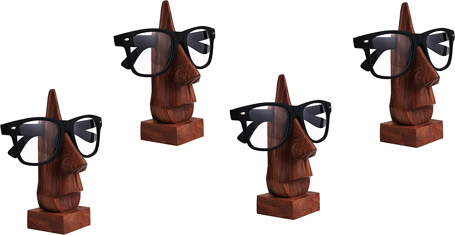 IndiaBigShop Set of 4 Classic Hand Carved Sheesham Nose Shaped Eyeglass Spectacle Holder Stand Decorative Accessories for Home & Office