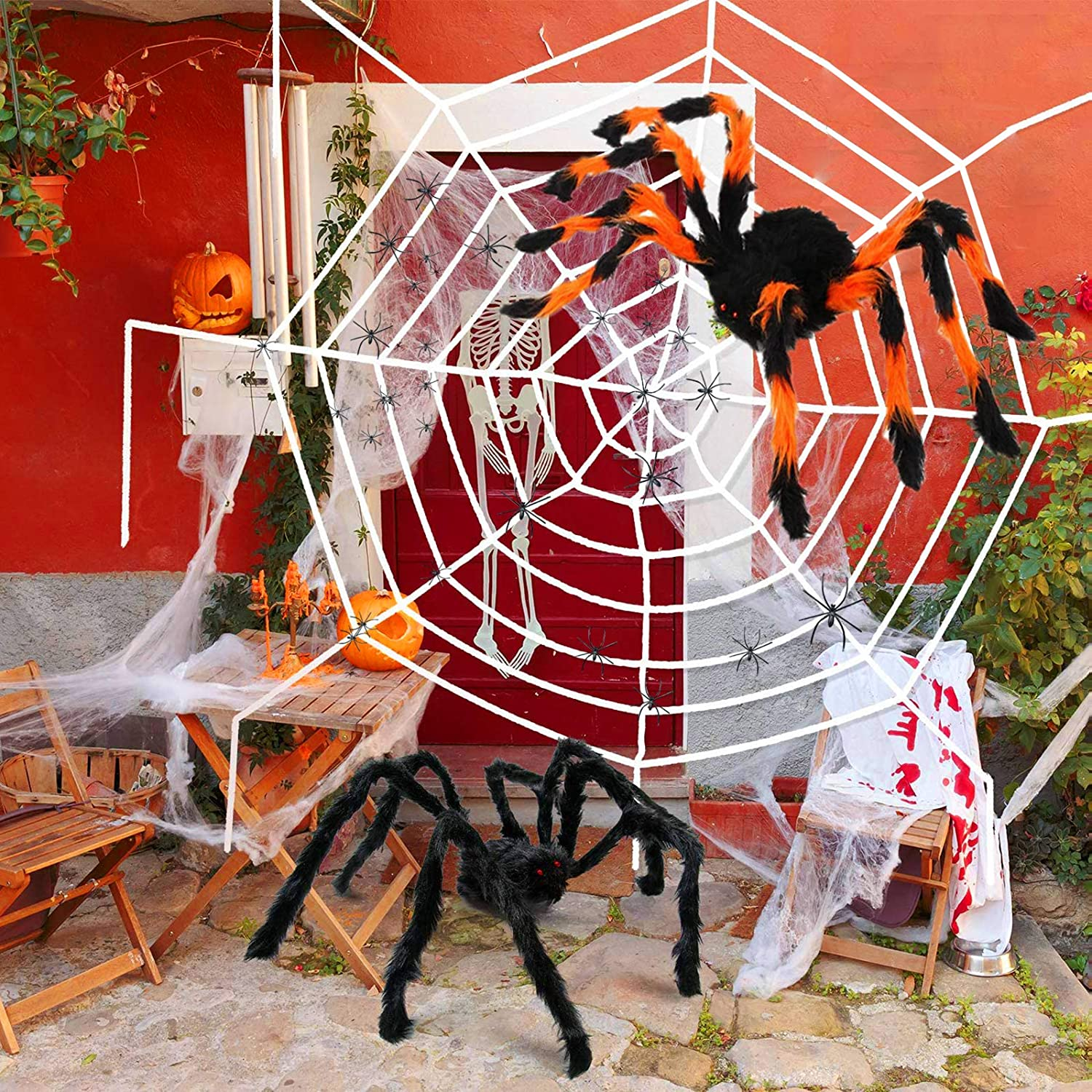 """Spider Web Outdoor Halloween Spider Web Decorations 142""""Spider Web Outdoor +2 Giant Spiders Fake Spiders Cotton-Fleece 1.5""""x20pcs Small Spiders Set for Halloween Outdoor Yard Garden Lawn Decorations"""