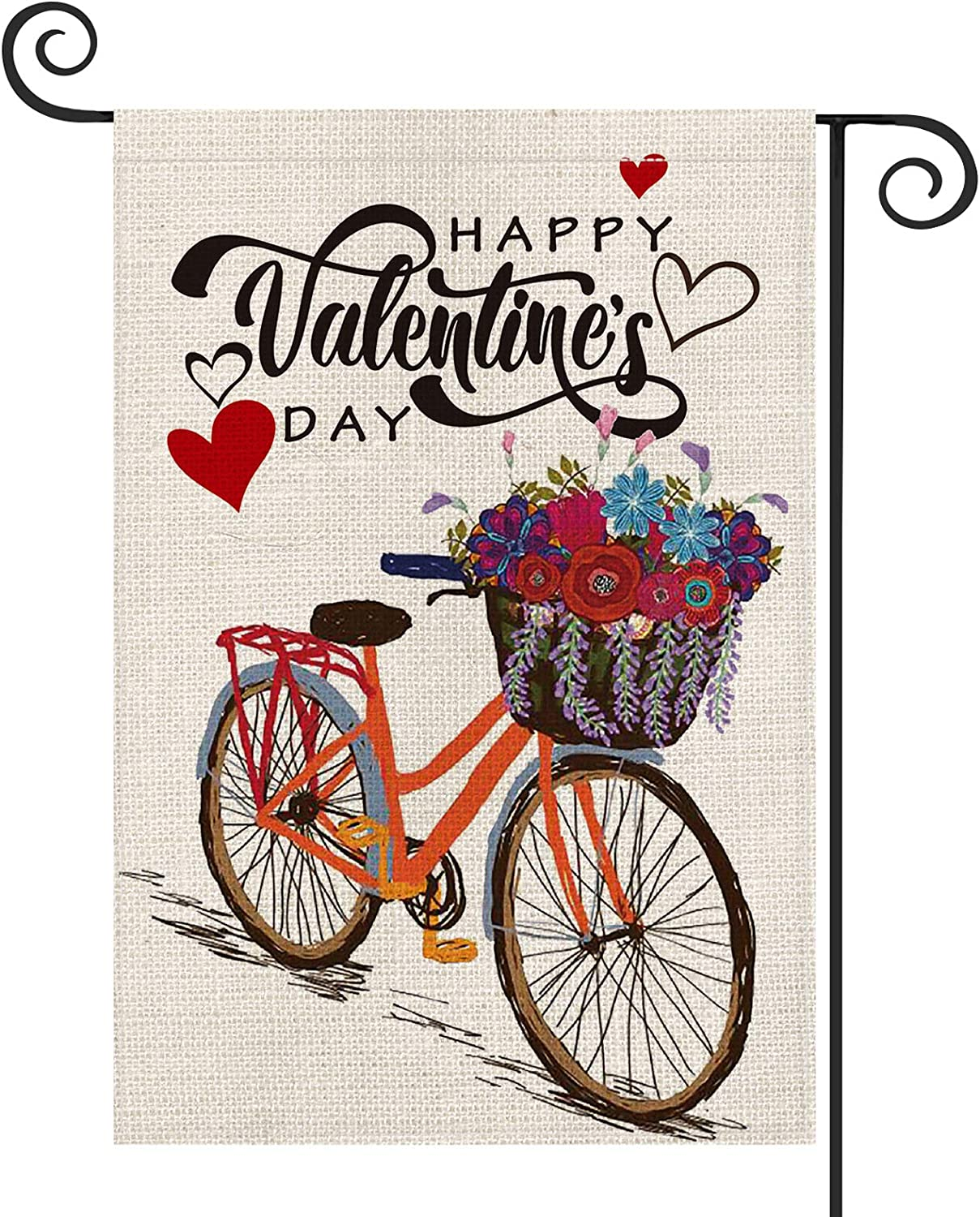 AVOIN Happy Valentine's Day Bicycle Garden Flag Vertical Double Sized Love Heart Flower, Holiday Anniversary Wedding Yard Outdoor Decoration 12.5 x 18 Inch