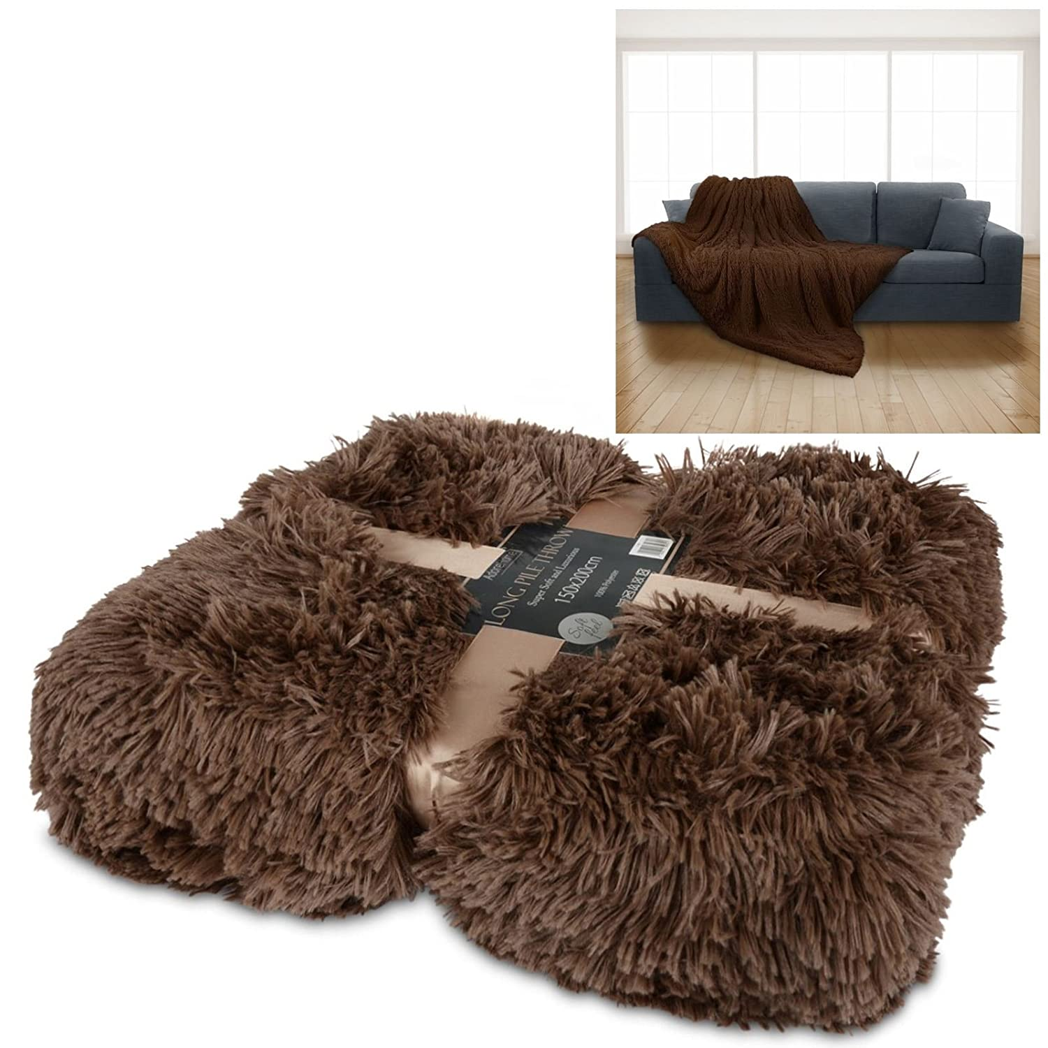 Luxury Long Pile Throw Snuggle Blanket Super Soft Faux Fur Warm Karpet Shaggy Premium 160x230 Turkiye Cover 150x200cm For Bed Sofa Home Camping With Gift Ribbon Mocha